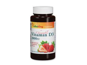 D3-vitamin 2000 NE eper ízű rágótabeltta 210 db (Vitaking)