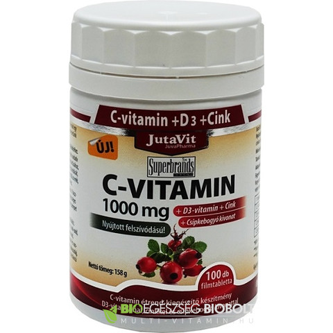 C-vitamin 1000 mg + D3-vitamin tabletta 100 db (JutaVit)