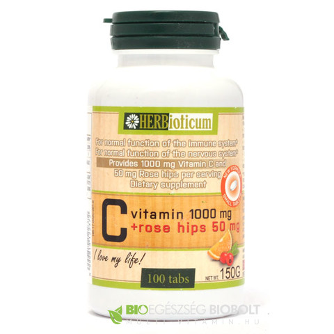HERBioticum C-vitamin 1000 mg + Rose hips 50 mg tabletta 100 db