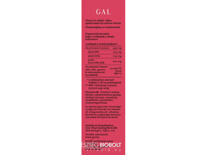 GAL Halolaj Omega3 250ml 3475mg