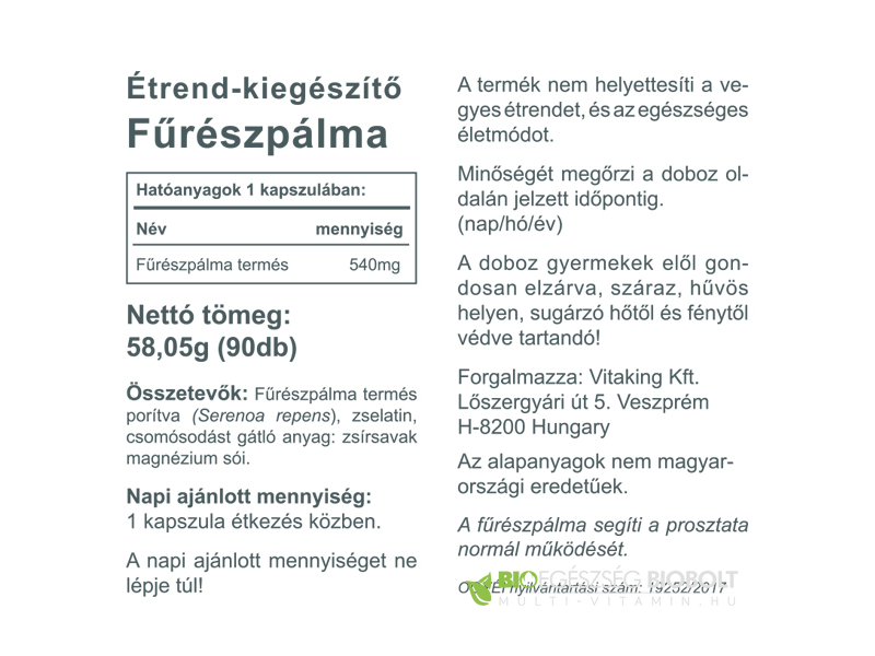 VK Saw Palmetto Fűrészpálma 90db 540mg
