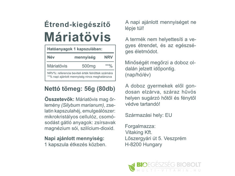 Vitaking Máriatövis Milk Thistle 500mg (65.61g) kapszula 80db